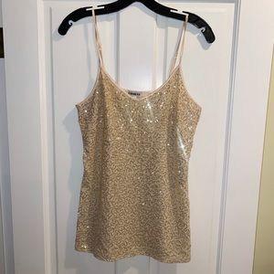 Express gold sequin white party top 🥳